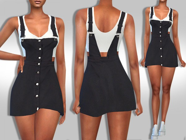 The Sims Resource: Black Button Denim Dress with Top by Saliwa