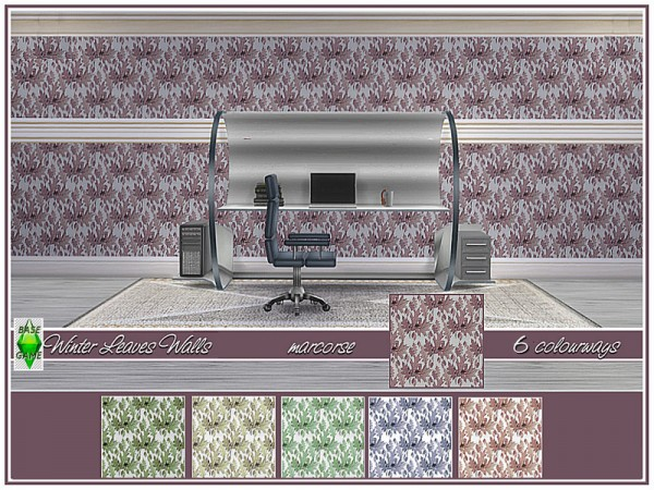 The Sims Resource: Winter Leaves Walls by marcorse