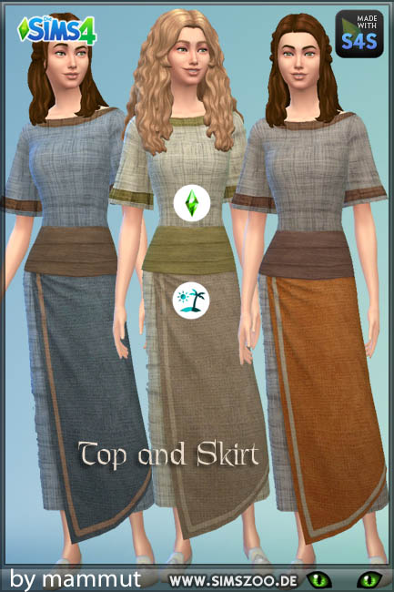 Blackys Sims 4 Zoo: Skirt and top Viking  1 by mammut