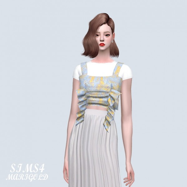 SIMS4 Marigold: Shirring Ruffle Top With T