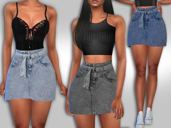 The Sims Resource: High Waist Denim Skirts by Saliwa