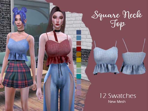 The Sims Resource: Square Neck Top by Lisaminicatsims