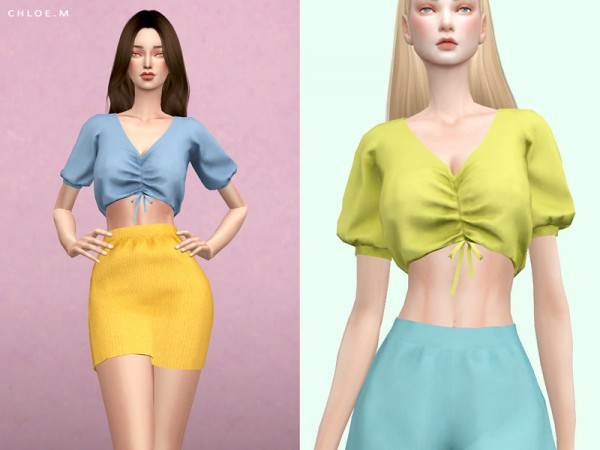 The Sims Resource: Cute Top Pure color by ChloeMMM