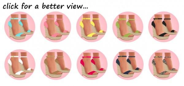 Sims 4 Sue: Dallas girls wedge sandals