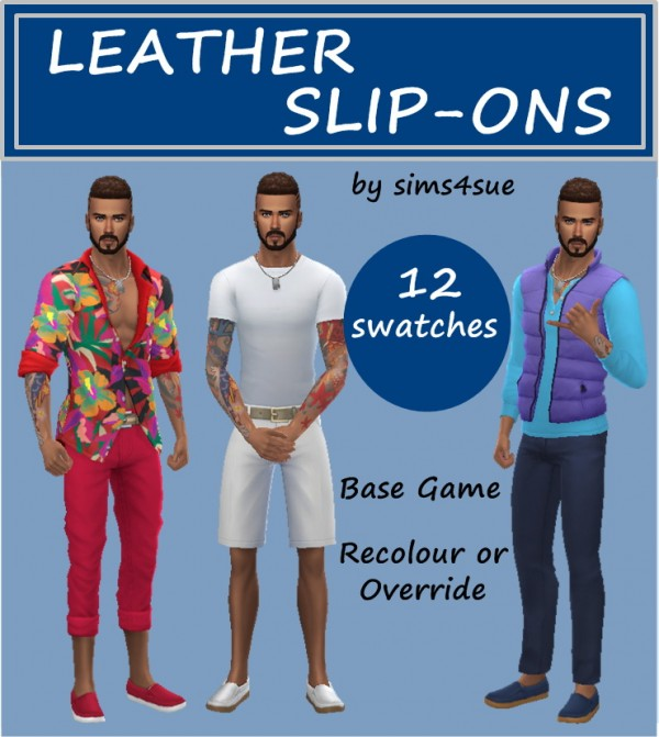 Sims 4 Sue: Leather slip ons