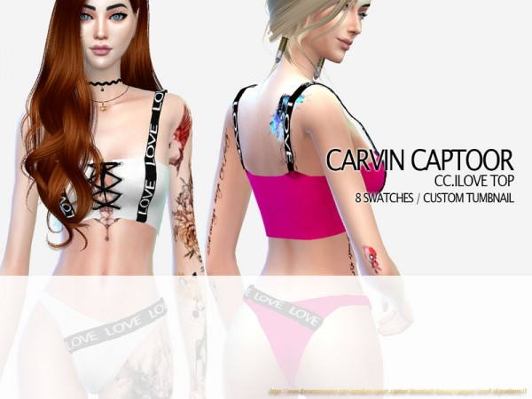 The Sims Resource: Ilove Top by carvin captoor
