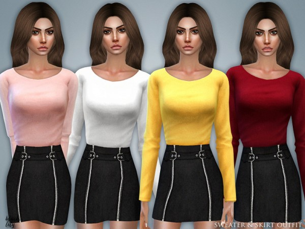The Sims Resource: Sweater and Skirt Outfit by Black Lily