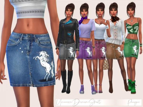 The Sims Resource: Unicorn Denim Skirt by paogae