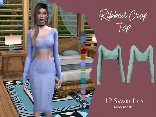 The Sims Resource: Ribbed Crop Top by Lisaminicatsims