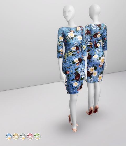Rusty Nail: Colorblock Floral Dress
