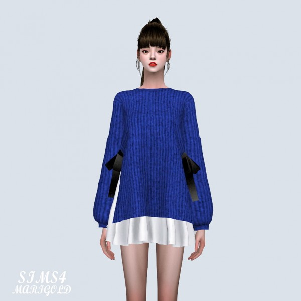 SIMS4 Marigold: Ribbon Sweater With Flare Mini Dress