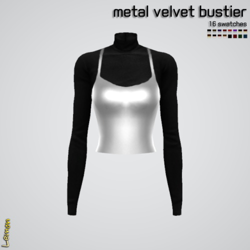 Lemon: Metal velvet bustier