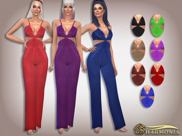 The Sims Resource: Slinky Knot Detail Flare Leg Jumpsuit by Harmonia