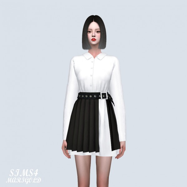 SIMS4 Marigold: Shirts With Pleats Skirt