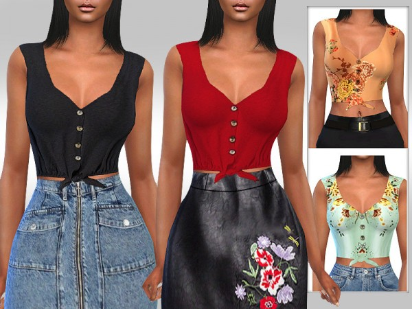 The Sims Resource: Front Tie Button Tops by Saliwa
