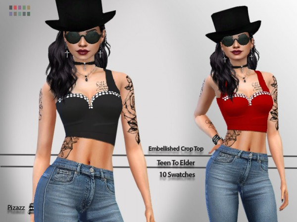 The Sims Resource: Embellished Crop Top by pizazz