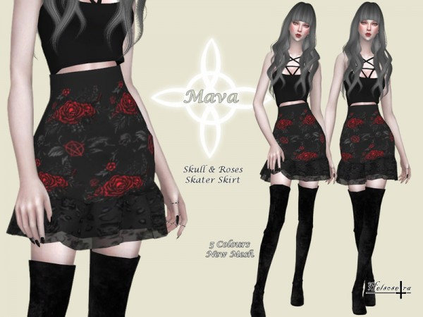 The Sims Resource: MAVA   Gothic Skater Skirt by Helsoseira