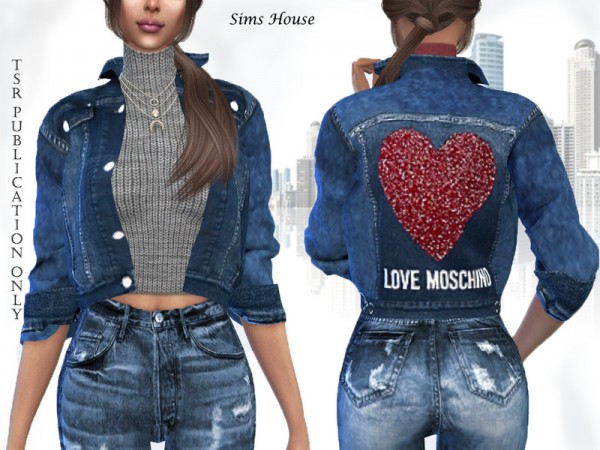 The Sims Resource: Womens denim jacket with a short sweater by Sims House