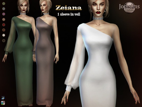 The Sims Resource: Zeiana long dress by jomsims