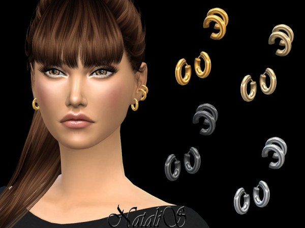 The Sims Resource: Ear cuff with hoop earrings by NataliS