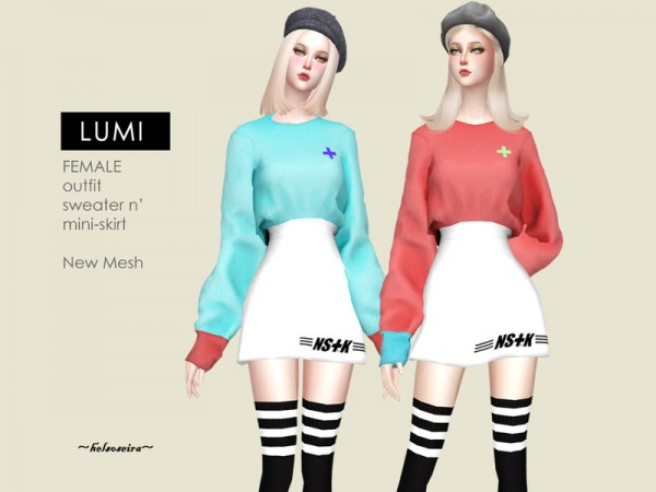 The Sims Resource: LUMI   Sweater n Mini Skirt Outfit by Helsoseira