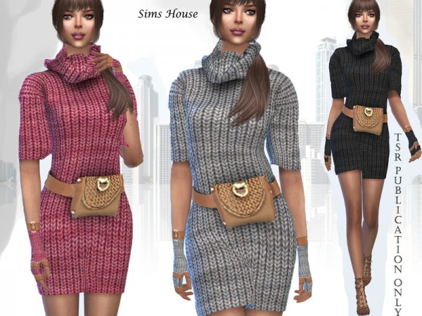 The Sims Resource: Knitted dress with a waist bag by Sims House