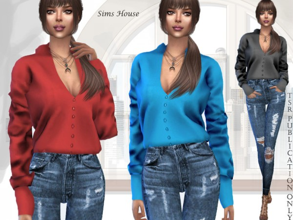 The Sims Resource: Satin Womens Long Sleeve Blouse by Sims House