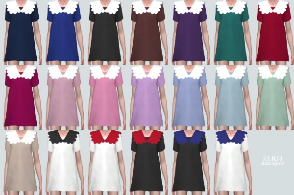 SIMS4 Marigold: Scallop Collar Mini Dress
