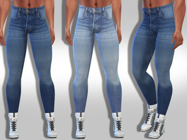 The Sims Resource: Men High Waist Distressed Jeans by Saliwa