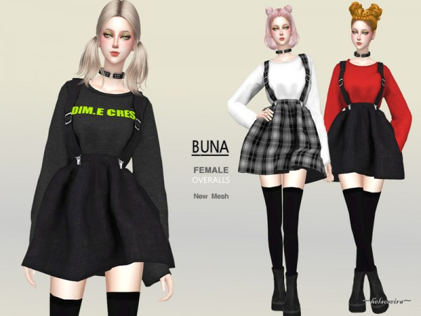 The Sims Resource: BUNA   Overalls mini dress by Helsoseira