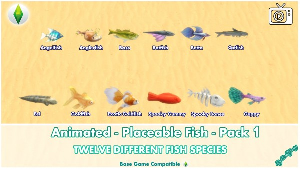 Mod The Sims: Animated   Placeable Fish   Pack 1 by Bakie