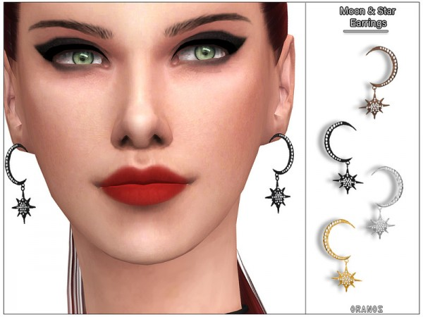 The Sims Resource: Moon andStar Earrings by OranosTR