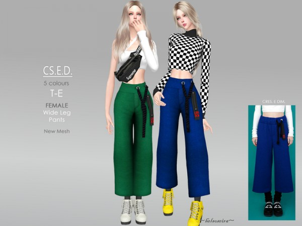 The Sims Resource: CSED   Wide leg pants by Helsoseira