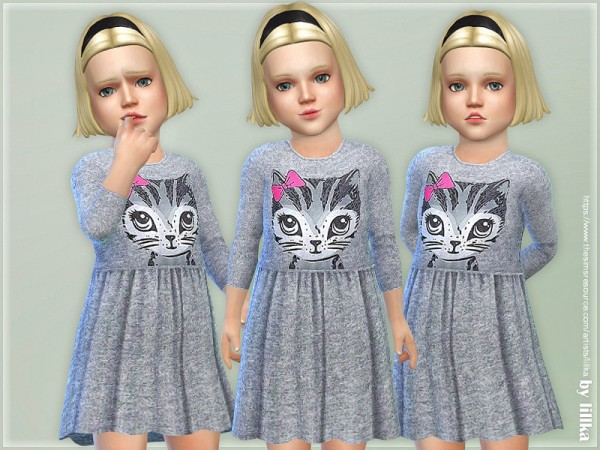 The Sims Resource: Kitty Dress for Toddler by lillka