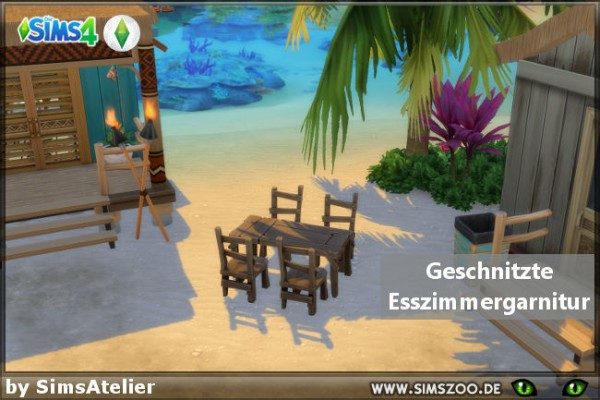 Blackys Sims 4 Zoo: Carved dining set  by SimsAtelier