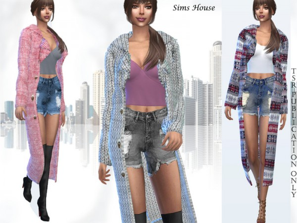 The Sims Resource: Knitted long coat by Sims House