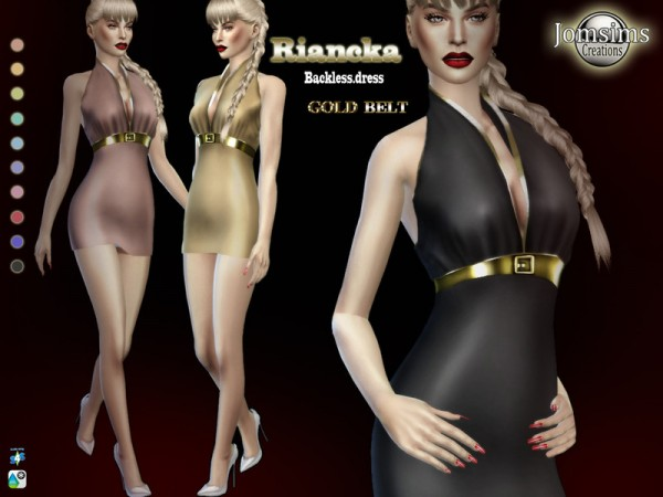 The Sims Resource: Riancka backless dress by jomsims