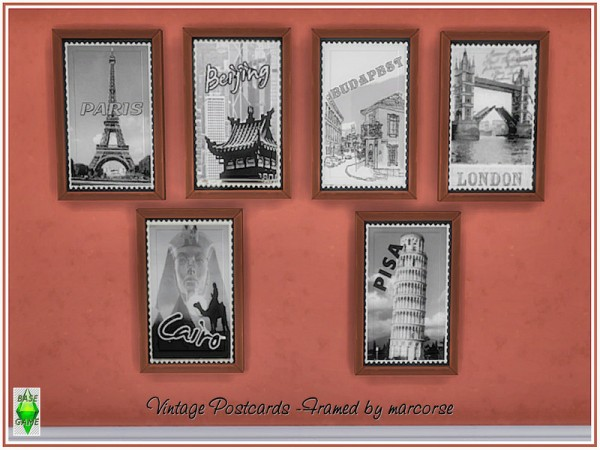 The Sims Resource: Vintage Postcards   Framed by marcorse