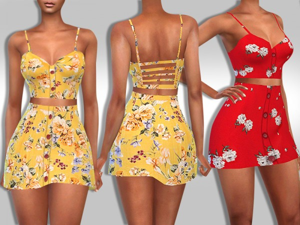 The Sims Resource: Two Piece Trendy Pattern Summer Outfits by Saliwa