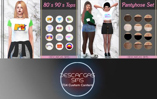 Descargas Sims: 80`s 90`s T shirts