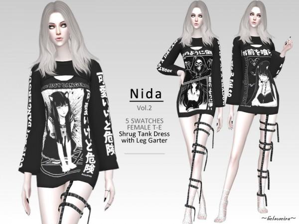 The Sims Resource: NIDA   V.2 Goth Shrug dress with Leg garter by Helsoseira