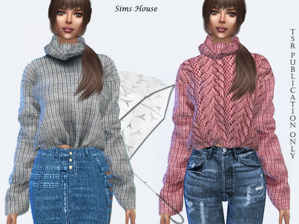 The Sims Resource: Womens knitted sweater with a collar by Sims House