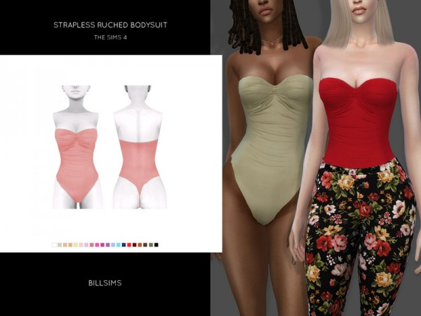 The Sims Resource: Strapless Ruched Bodysuit by Bill Sims
