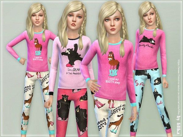 The Sims Resource: Pink Animal Pajama for Girls by lillka