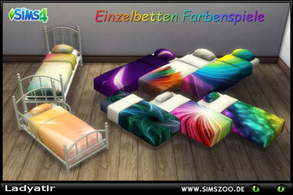 Blackys Sims 4 Zoo: Single color bed  by ladyatir