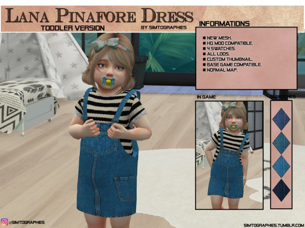 Simtographies: Luna Pinafore Dress toddlers version