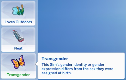 Mod The Sims: Transgender Trait by Sresla
