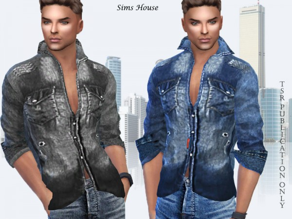 The Sims Resource: Denim mens shirt by Sims House