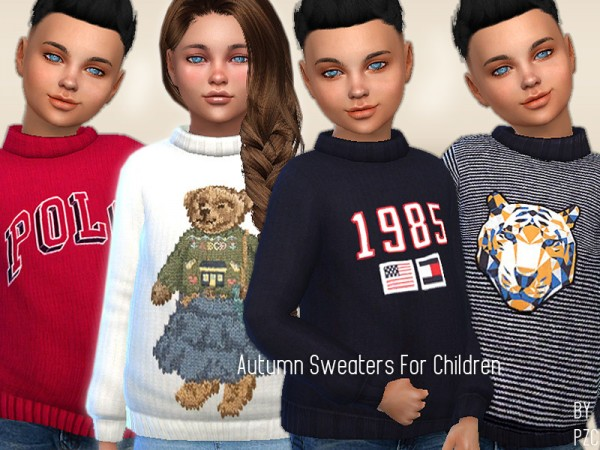 The Sims Resource: Autumn Sweaters For Children by Pinkzombiecupcakes