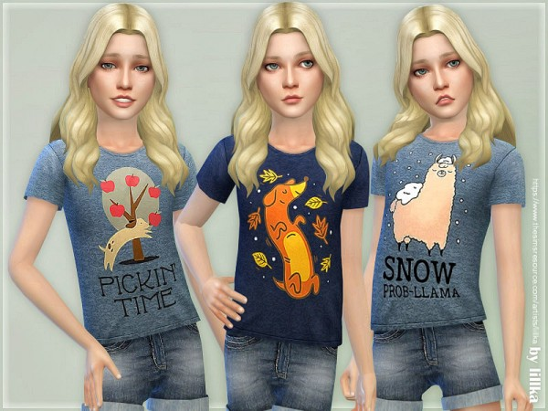 The Sims Resource: T Shirt Collection for Children 02 by lillka